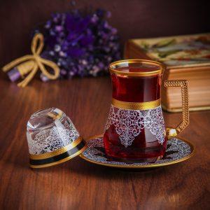 Tea glass and arabic coffee cup
